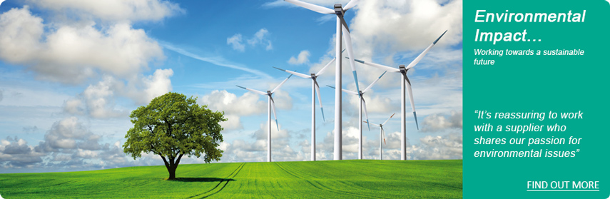 Photo of a windfarm, imagedirect environmental impact