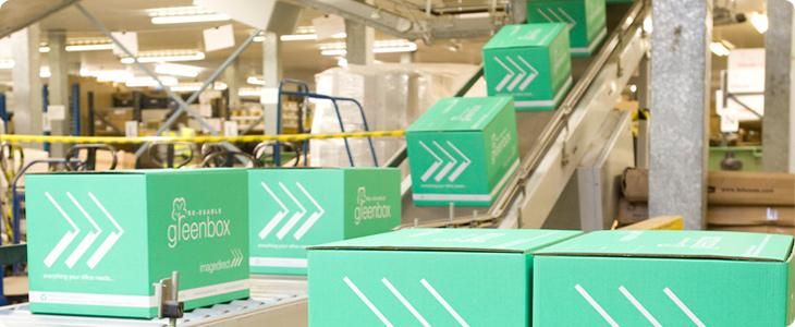 Image greenboxes on a conveyor belt